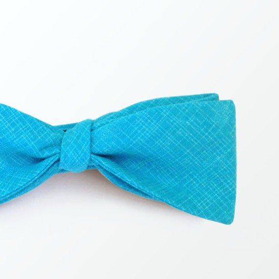 Azul Blue Bowtie Men/'s Bow Tie Cotton Self Tie Bow Tie for Men Wedding and Gift  READY TO SHIP