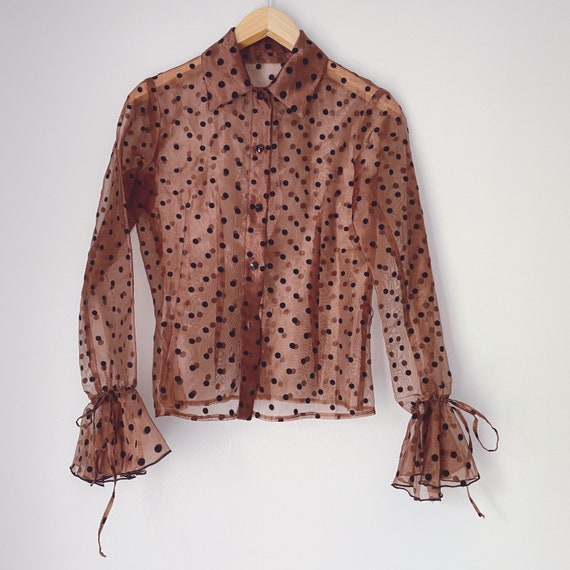 Vintage polka dot sheer ruffle blouse