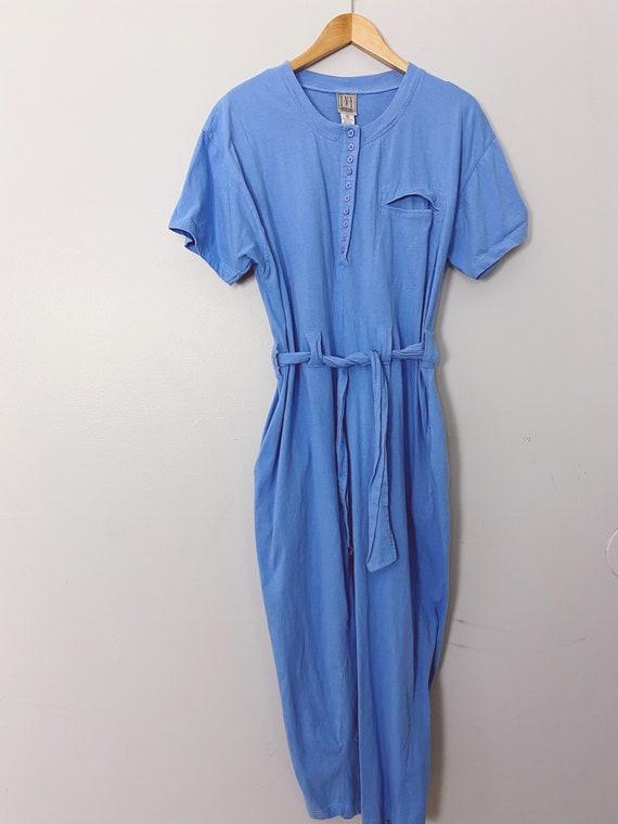 vintage cornflower blue cotton jumpsuit