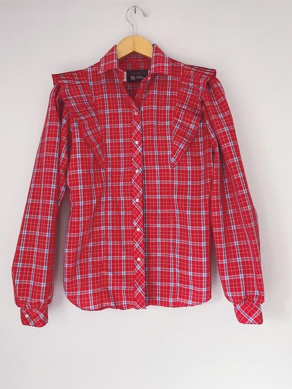 vintage western prairie blouse shirt plaid