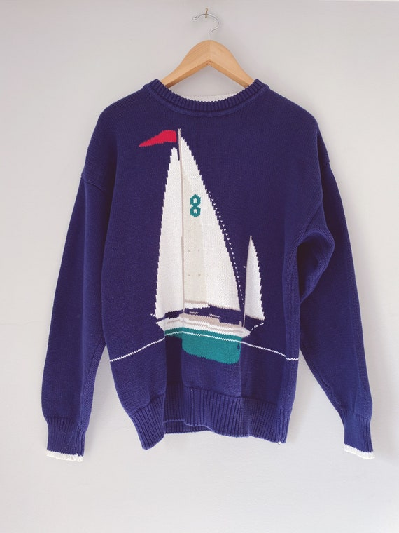 vintage novelty print nautical crew neck sweater
