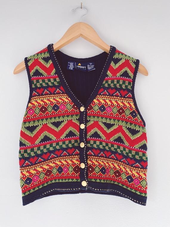 vintage sweater vest multi colored knit vest
