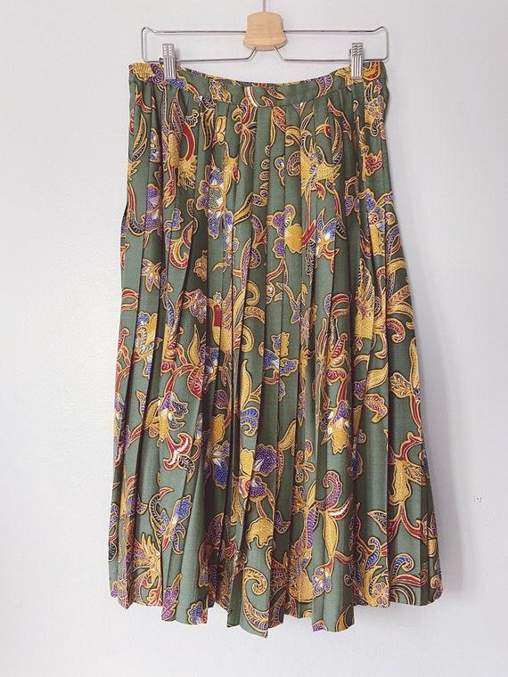 Vintage silk floral pleated print skirt