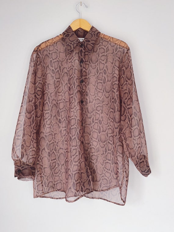 vintage sheer snakeskin print blouse
