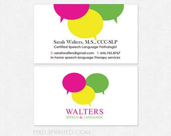Slp business cards etsy slp speech language pathologist business cards thick glossy or matte color both sides free ups ground colourmoves