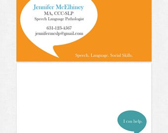 Slp business cards etsy speech language pathologist business cards color both sides glossy or matte color both sides free ups ground colourmoves