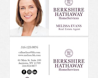berkshire hathaway real estate business cards thick color both sides free ups ground shipping - Berkshire Hathaway Business Cards