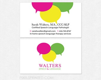 Slp business cards etsy slp speech language pathologist business cards thick glossy or matte color both sides free ups ground reheart Choice Image