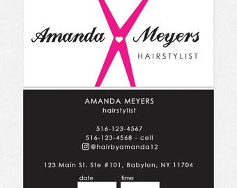 Hair stylist business cards etsy hairstylist or hair salon business cards color both sides free ups ground shipping colourmoves