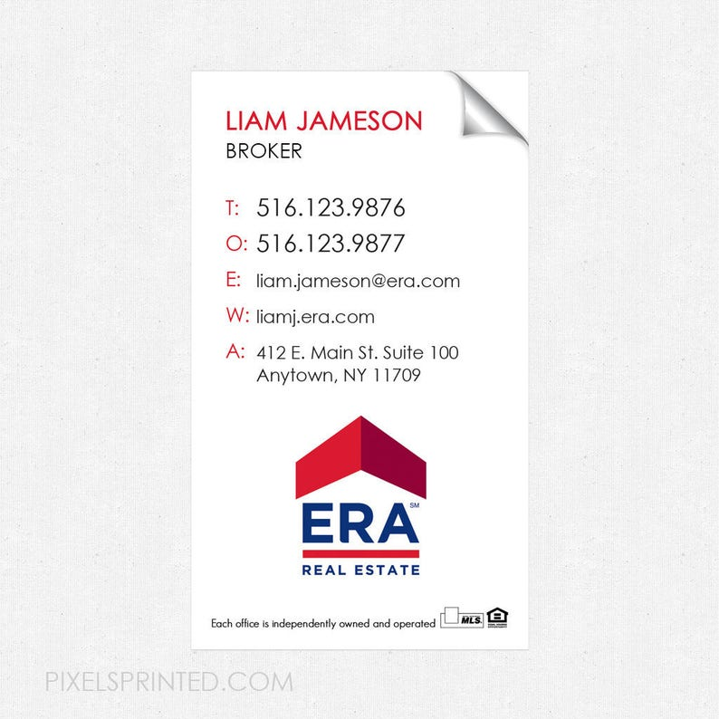 crack and peel ERA real estate deluxe glossy stickers FREE UPS ground shipping high end business card size