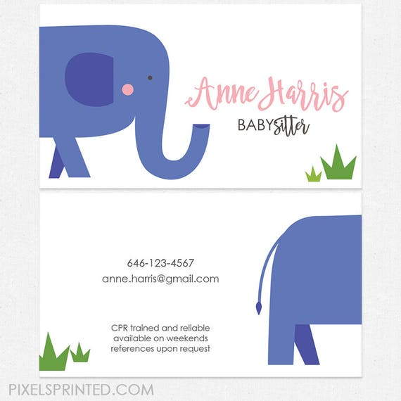 Babysitter Nanny Business Cards Thick Color Both Sides Etsy