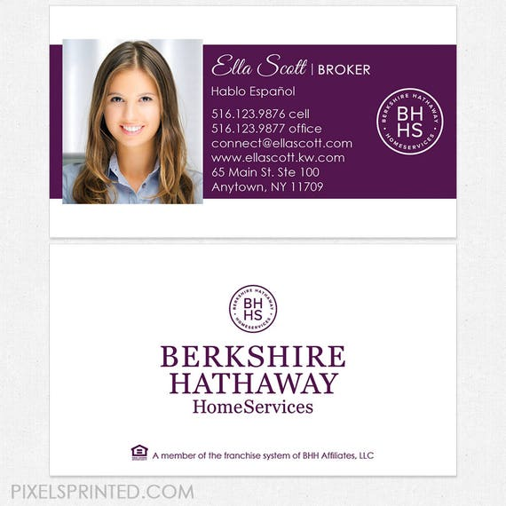 Berkshire hathaway real estate business cards thick color etsy image 0 colourmoves