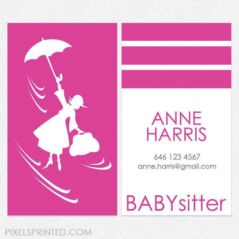 Baby Sitter Nounou Cartes De Visite Epais Couleur Des Deux