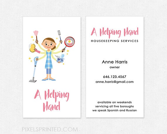 Housekeeper Business Cards Thick Color Both Sides Free Etsy