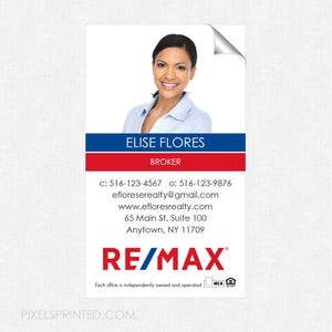 real estate deluxe glossy stickers high end FREE UPS ground shipping crack and peel business card size