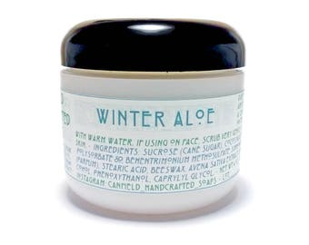 Winter Aloe - Emulsified (Non Greasy) Sugar Scrub - 4 oz - Handmade