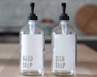 Modern White Hand and Dish Glass Soap Dispenser Set | Minimalist Soap Bottles