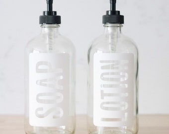 Clear Glass Hand Soap and Hand Lotion Dispenser Set | Modern Soap Bottle