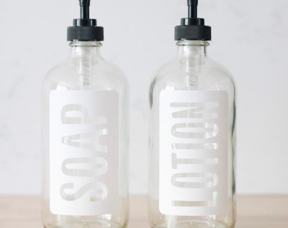 Clear Glass Hand Soap and Hand Lotion Dispenser Set