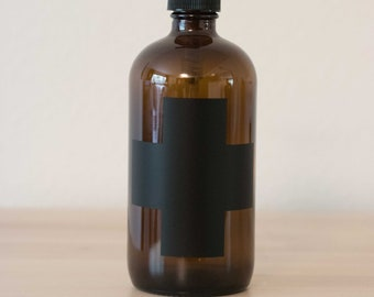 Amber Glass Cross Soap Dispenser | Modern Lotion Bottle