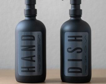 Matte Black Glass Classic Hand or Dish Soap Dispenser   Modern Soap Bottles