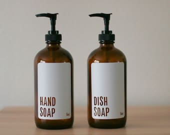 Amber Glass Modern White Hand and Dish Soap Dispenser Set| Minimalist Soap Bottle Set