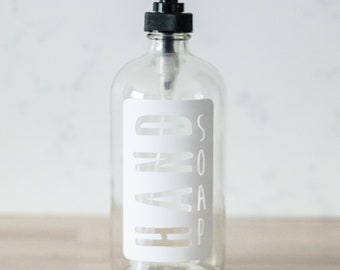 Glass Hand Soap Dispenser with White Label