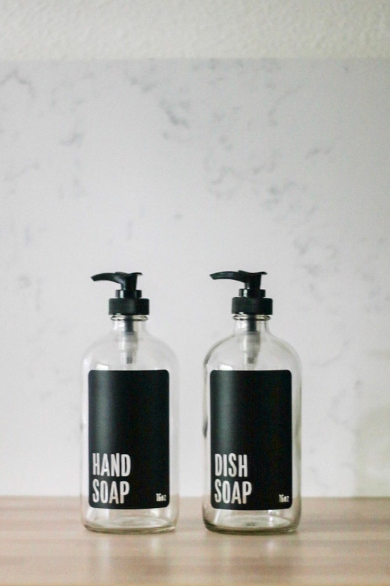 Clear Glass Modern Hand Soap and Dish Soap Dispenser Set