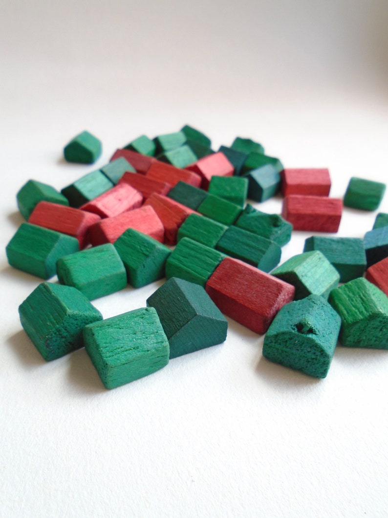 Instant Collection Of Wooden Vintage Monopoly Houses Hotels British