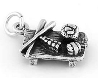 Sterling Silver Japanese Sushi Plate with Chopstick Charm