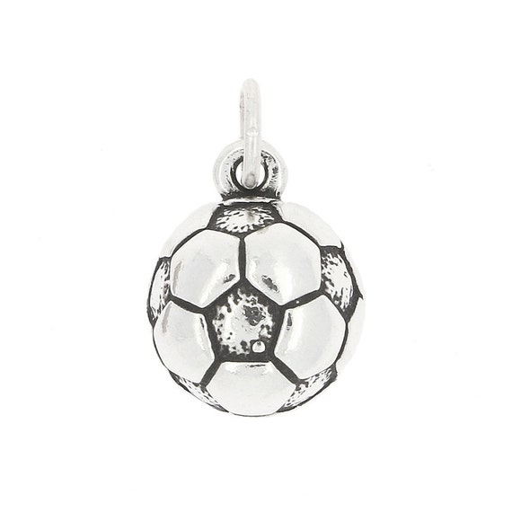 925 Sterling Silver Soccer Ball Half Charm Made in USA
