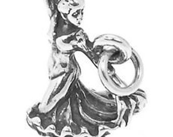 Sterling Silver Fancy Spanish Spain Flamenco Dancer Charm Pendant (3D Charm)