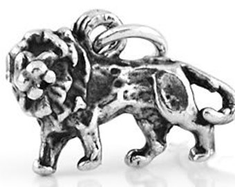 Sterling Silver Small Lion Charm (3d Charm)