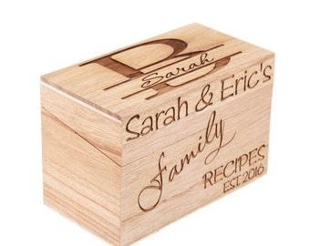 Monogrammed Personalized Recipe Box Custom Family Recipe Box Wood Box