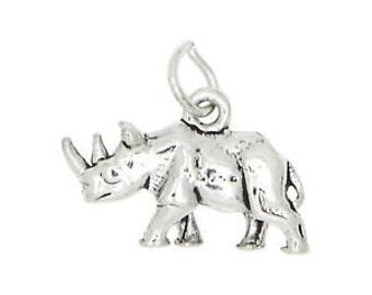 Sterling Silver Walking Rhinocerous Rhino Charm Pendant (3D Charm)