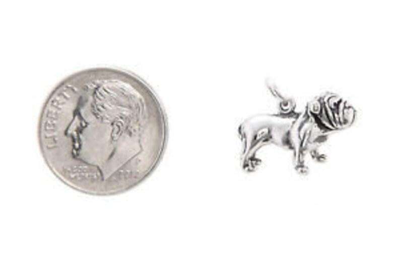3D Charm Sterling Silver Big Head Bulldog Bull Dog Charm Pendant