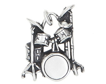 Sterling Silver Drum Set Charm (Flat Back Charm)
