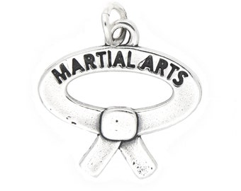 Sterling Silver Martial Arts Charm (One Sided)