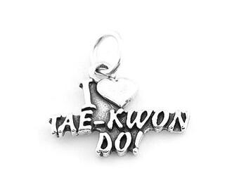 Sterling Silver I Love Tae Kwon Do Charm (Flat Back Charm)