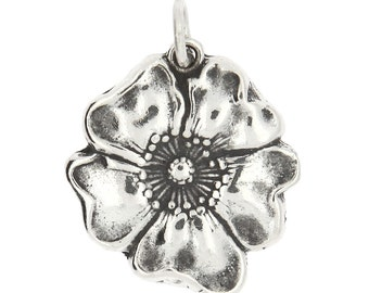 Sterling Silver Poppy Flower Charm (Flat Charm)