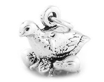 Sterling Silver Partridge in Pear Tree Charm (Hollow Bottom charm)