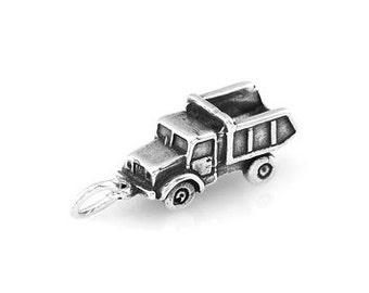 Sterling Silver Construction Dump Truck Charm (3d Charm)