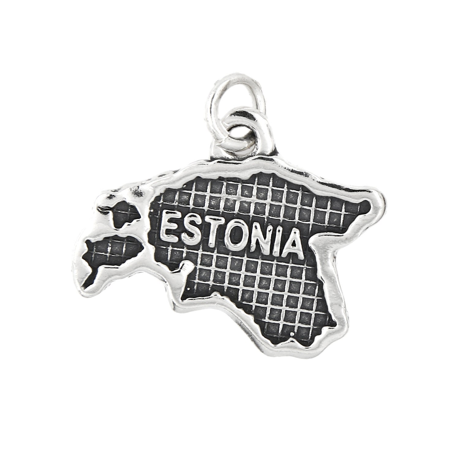 Sterling Silver Oxidized Travel Map of Jamaica Charm Options