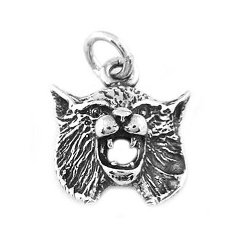 BOBCAT HEAD CHARM WITH BOX CHAIN NECKLACE STERLING SILVER BOB CAT HEAD