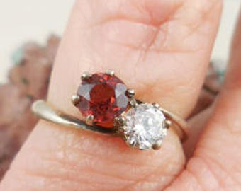 Genuine Garnet and CZ Sterling Silver Ring