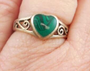 Sterling Malachite Heart Ring