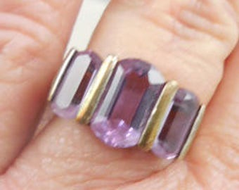 Genuine Purple Amethyst Sterling Ring