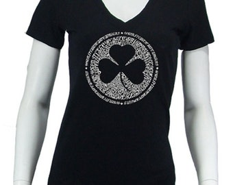 a39b21e38 Women's V-neck T-shirt - Created using the Lyrics To When Irish Eyes Are  Smiling
