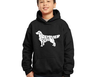 "e21540e9f3 Boy's Hooded Sweatshirt - Created using the words ""Golden Retriever"""