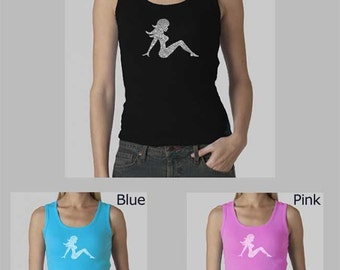 Women's Beater Tank Top - Created using the names of all 50 states in the USA Mudflap Girl